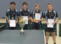 von links nach rechts die Pokalsieger des Turnvereins Kostheim Domin Menne, Marcel Fieguth, Simon Henz und Tristan Lüpke