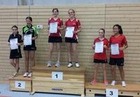 Siegerehrung Tischtennis-Kreiseinzelmeisterschaften 2015 Schülerinnen A Doppel